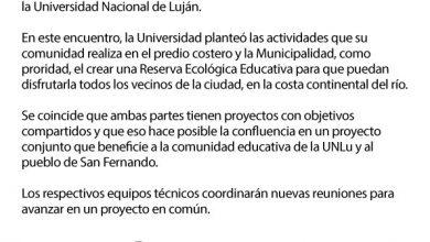 Photo of SAN FERNANDO Y UNIVERSIDAD DE LUJÁN TRABAJARÁN EN CONJUNTO PARA LA RESERVA ECOLÓGICA EDUCATIVA